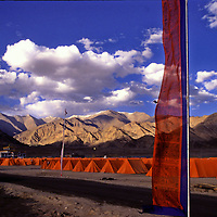 Hundreds of tents are display outside the Hemis Festival in honor of Guru Padma Sambhav´s birth anniversary. at the Hemis Monastery, 40 km from Leh, India,  It also has the largest Thangkha in  Ladakh, which is unfurled, once in 12 years. July 2004.