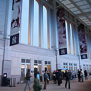 Fans arriving at Yankee Stadium for the New York City FC Vs Sporting Kansas City, MSL regular season football match at Yankee Stadium, The Bronx, New York,  USA. 27th March 2015. Photo Tim Clayton