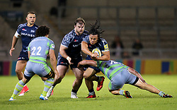 TJ Ioane of Sale Sharks takes on Trevor Davison of Newcastle Falcons - Mandatory by-line: Matt McNulty/JMP - 08/09/2017 - RUGBY - AJ Bell Stadium - Sale, England - Sale Sharks v Newcastle Falcons - Aviva Premiership