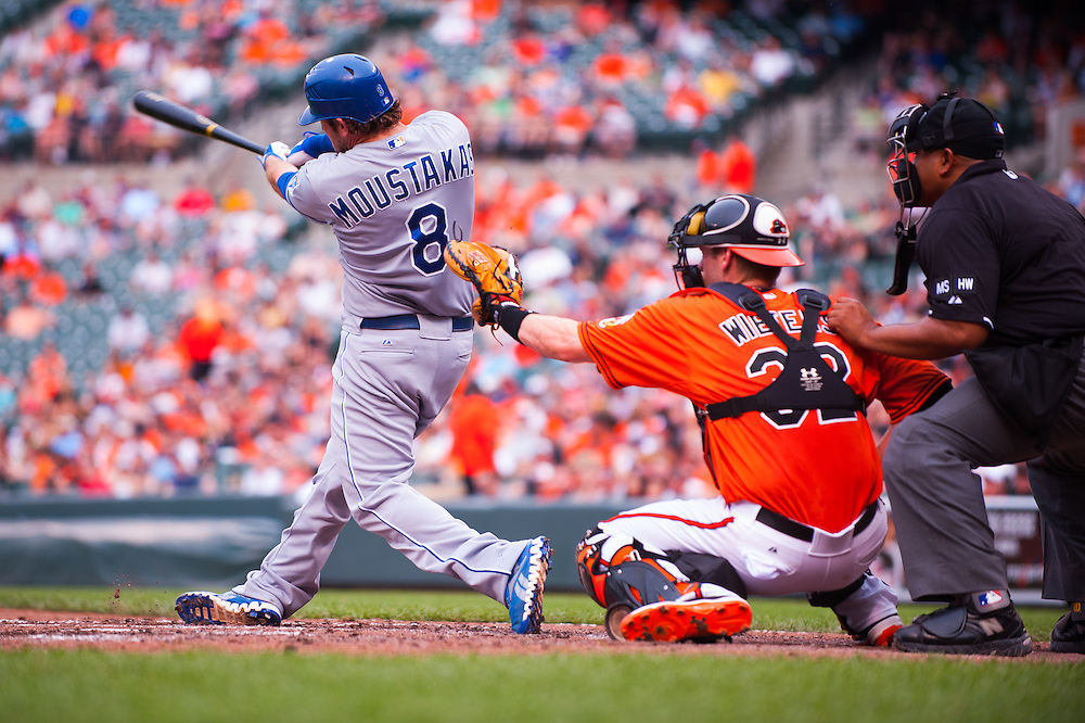 BALTIMORE, MD - MAY 26: Mike Moustakas #8 of the Kansas City Royals bats during the game against the Baltimore Orioles at Oriole Park at Camden Yards on May 26, 2012 in Baltimore, Maryland. (Photo by Rob Tringali) *** Local Caption *** Mike Moustakas