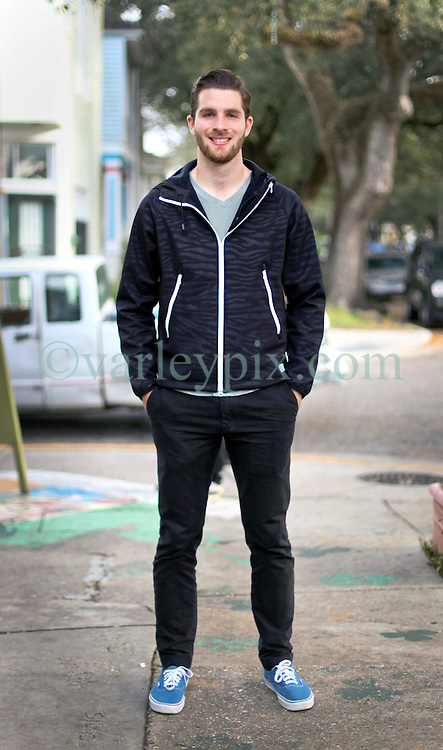 23 November 2015. Finn McCool's Irish Pub, New Orleans, Louisiana.<br /> Major League Soccer (MLS) star player Patrick Mullins of New York City FC poses for a photo during a brief visit to New Orleans.<br /> Photo©; Charlie Varley/varleypix.com