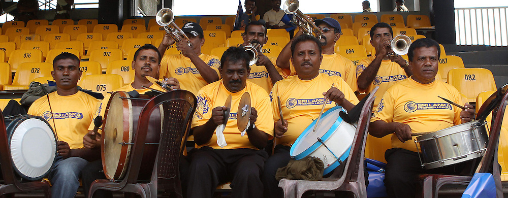 The band entertains the crowd and builds the atmosphere during match 19 of the Sri Lankan Premier League between  Uthura Rudras and Nagenahiras held at the Premadasa Stadium in Colombo, Sri Lanka on the 26th August 2012. .Photo by Ron Gaunt/SPORTZPICS/SLPL
