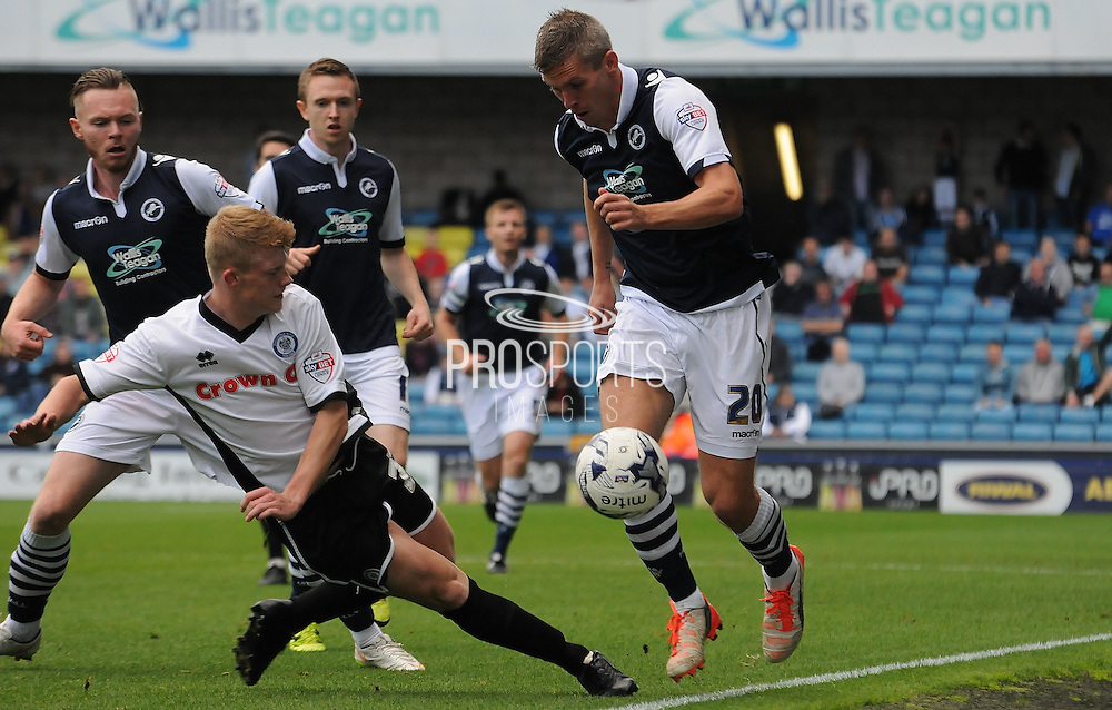 Steve Morrison charging down the wing during the Sky Bet League 1 match between Millwall and Rochdale at The Den, London, England on 26 September 2015. Photo by Michael Hulf.