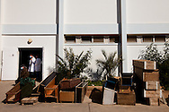 Donated coffins are lined up outside the mourgue at a hospital in Banghazi.