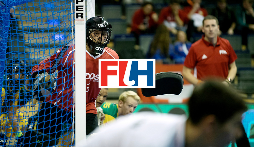 BERLIN - Indoor Hockey World Cup<br /> Men: Russia - South Africa<br /> foto: McCATHIE Chris (GK).<br /> COPYRIGHT WILLEM VERNES
