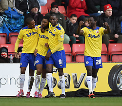 Crawley Town players celebrate Gavin Tomlin's goal against Swindon Town - Photo mandatory by-line: Paul Knight/JMP - Mobile: 07966 386802 - 21/02/2015 - SPORT - Football - Swindon - The County Ground - Swindon Town v Crawley Town - Sky Bet League One