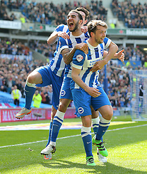 Dale Stephens ( R ) of Brighton & Hove Albion celebrates after he scores to make it 1-0 - Mandatory by-line: Paul Terry/JMP - 02/04/2016 - FOOTBALL - Amex Stadium - Brighton, England - Brighton and Hove Albion v Burnley - Sky Bet Championship