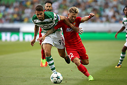 August 15, 2017 - Lisbon, Portugal - Sporting's defender Cristiano Piccini from Italy (R ) fights for the ball with Steaua's forward Catalin Golofca during the UEFA Champions League play-offs first leg football match between Sporting CP and FC Steaua Bucuresti at the Alvalade stadium in Lisbon, Portugal on August 15, 2017. Photo: Pedro Fiuza (Credit Image: © Pedro Fiuza via ZUMA Wire)