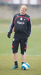 LIVERPOOL, ENGLAND - Friday, March 28, 2008: Liverpool's John Arne Riise training at Melwood ahead of the Merseyside Derby match against Everton. (Photo by David Rawcliffe/Propaganda)