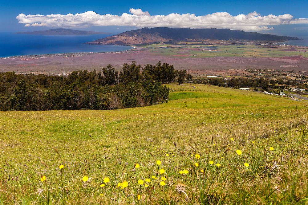 On the road to Poli poli on the western slopes of Hale'akala looking down onto West Maui and Lana'i, Hawai'i.