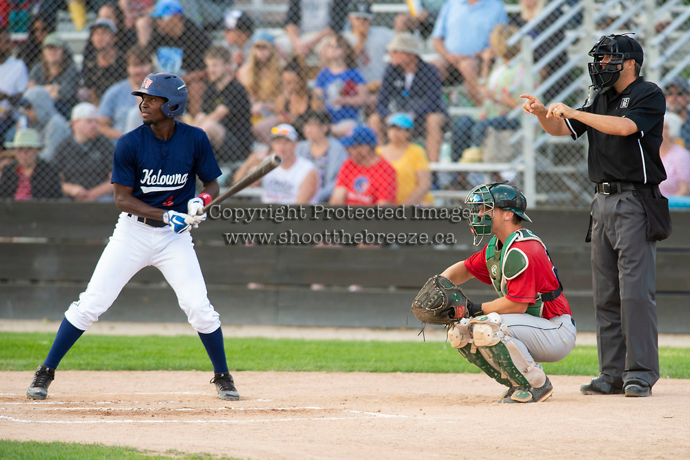 KELOWNA, BC - JULY 16: Richi Sede #4 of the Kelowna Falcons steps up to plate against the the Wenatchee Applesox  at Elks Stadium on July 16, 2019 in Kelowna, Canada. (Photo by Marissa Baecker/Shoot the Breeze)