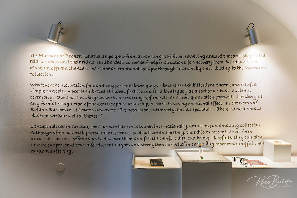 Display in the Museum of Broken Relationships in old town Gradec, Zagreb, Croatia