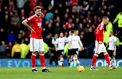 Nicklas Bendtner of Nottingham Forest looks dejected as Derby County celebrates scoring a goal - Mandatory by-line: Robbie Stephenson/JMP - 11/12/2016 - FOOTBALL - iPro Stadium - Derby, England - Derby County v Nottingham Forest - Sky Bet Championship