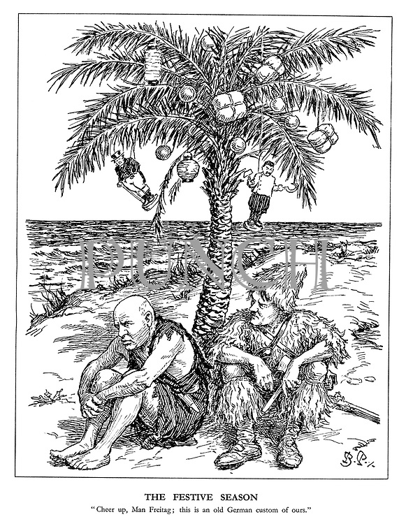 "The Festive Season. ""Cheer up, Man Freitag; this is an old German custom of ours."" (Hitler as Robinson Crusoe and Mussolini as Man Friday on a stranded desert island under a palm tree with John Bull and Stalin Christmas baubles)"
