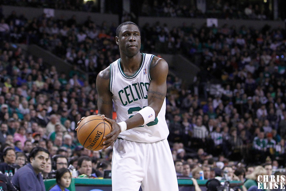 04 March 2012: Boston Celtics small forward Mickael Pietrus (28) looks to pass the ball during the Boston Celtics 115-111 (OT) victory over the New York Knicks at the TD Garden, Boston, Massachusetts, USA.
