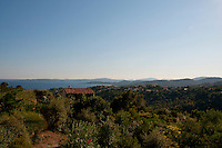 Panoramic view of the Mediterranean and the beautiful hills above San Tropez, France.