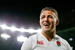 England Inside Centre Sam Burgess smiles after England win the match - Mandatory byline: Rogan Thomson/JMP - 07966 386802 - 15/08/2015 - RUGBY UNION - Twickenham Stadium - London, England - England v France - QBE Internationals 2015.