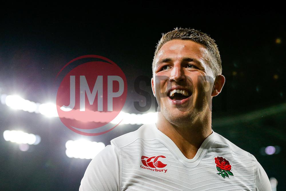 England Inside Centre Sam Burgess smiles after England win the match - Mandatory byline: Rogan Thomson/JMP - 07966 386802 - 15/08/2015 - RUGBY UNION - Twickenham Stadium - London, England - England v France - QBE Internationals 2015.