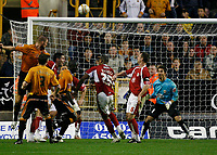 Photo: Steve Bond/Sportsbeat Images.<br /> Wolverhampton Wanderers v Bristol City. Coca Cola Championship. 03/11/2007. Darren Ward (L)heads over