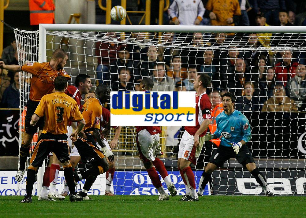 Photo: Steve Bond/Sportsbeat Images.<br /> Wolverhampton Wanderers v Bristol City. Coca Cola Championship. 03/11/2007. Darren Ward (L)heads over