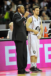 25.02.2014, Audi Dome, Muenchen, GER, Beko Basketball BL, FC Bayern Muenchen Basketball vs Artland Dragons, 22. Runde, im Bild Tyron McCoy, Head Coach (Artland Dragons), Christian Hoffmannn (Artland Dragons), v li Aktion // during the Beko Basketball Bundes league 22. round match between FC Bayern Munich Basketball and Artland Dragons at the Audi Dome in Muenchen, Germany on 2014/02/25. EXPA Pictures © 2014, PhotoCredit: EXPA/ Eibner-Pressefoto/ Buthmann<br /> <br /> *****ATTENTION - OUT of GER*****
