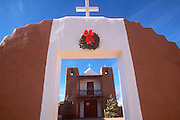 NATIVE AMERICAN CULTURE TAOS PUEBLO; adobe church