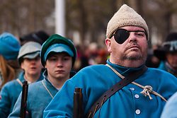 London, January 25th 2015. Every year on the last Sunday in January history enthusiatsts re-enact the King's Army parade along the route walked by King Charles I on the morning of 30th January 1649, from St James Palace to the Banqueting House in Whitehall, where  he was executed. To avoid closing Whitehall to traffic, the parade now ends on Horse Guards Parade. PICTURED: The English Civil war society go to great lengths to ensure the authenticity of the clothing the King's Army wore.