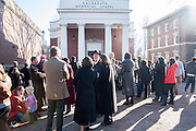 Participants gather in front of Galbreath Chapel on Monday, January 19 in preparation for a silent march in honor of Dr. Martin Luther King Jr. The march began at the chapel and ended at Baker University Center.