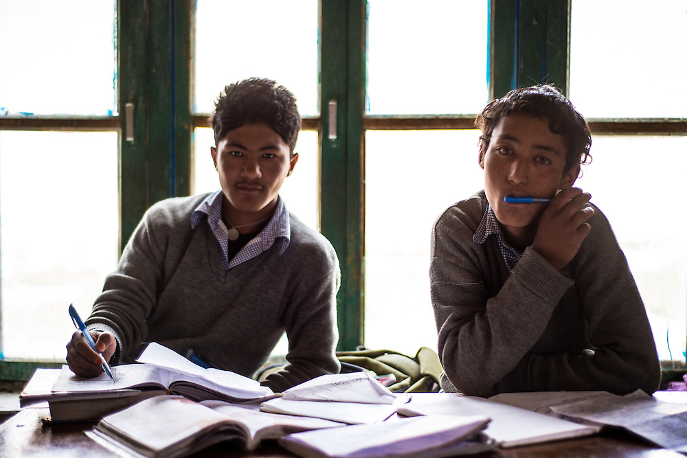 Kids busy but interrupted by a nomadic photographer (me) at a public school in Ladakh Province. <br /> <br /> Nikon D800 | Nikkor 50mm