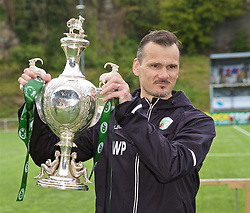 RHOSYMEDRE, WALES - Sunday, May 5, 2019: The New Saints Lead Sports Therapist Wayne Peter with the trophy after the FAW JD Welsh Cup Final between Connah's Quay Nomads and The New Saints at The Rock. The New Saints won 3-0. (Pic by David Rawcliffe/Propaganda)
