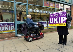 © Licensed to London News Pictures. 12/02/2013. Eastleigh, UK Supporters of UKIP campaign in Eastleigh. Diane James, chosen yesterday to fight the Eastleigh by election for UKIP, campaigns with Nigel Farage, leader of the party, in Easleigh's Market Street today 12th February 2013. Photo credit : Stephen Simpson/LNP