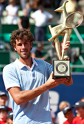06.08.2011, Tennis Stadion, Kitzbuehel, AUT, ATP World Tour, Bet-at-Home Cup Kitzbuehel, Herren einzel Finale, Albert Montanes (ESP) vs Robin Haase (NED), im Bild Robin Haase (NED) Jubelt am Podium nach seinem Tourniersieg  // during ATP World Tour Bet-at-Home Cup Kitzbuehel 2011 tennis tournier, men single final at tennis stadium Kitzbuehel, Austria on 6/8/2011. EXPA Pictures © 2011, PhotoCredit: EXPA/ J. Groder