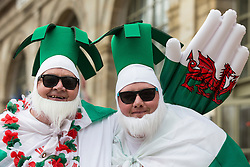 LILLE, FRANCE - Friday, July 1, 2016: Wales fans dressed as leeks in the centre of Lille ahead of the UEFA Euro 2016 Championship Quarter-Final match against Belgium at the Stade Pierre Mauroy. (Pic by Paul Greenwood/Propaganda)