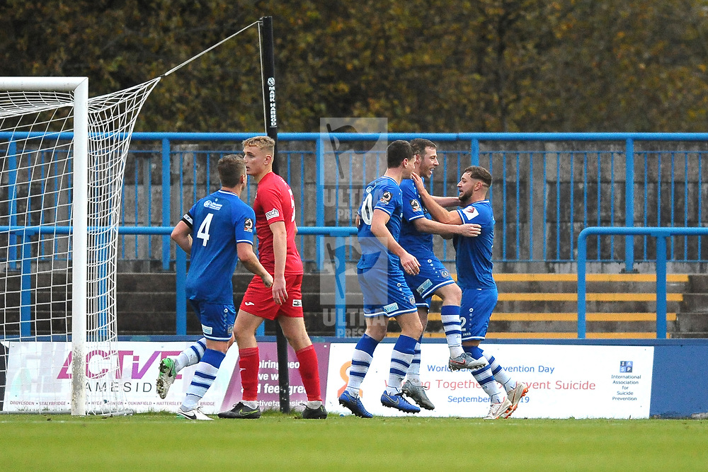 TELFORD COPYRIGHT MIKE SHERIDAN GOAL.Sean Miller of Cuzon Ashton scores to make it 1-1 during the Vanarama National League Conference North fixture between Curzon Asthon and AFC Telford United on Saturday, November 9, 2019.<br /> <br /> Picture credit: Mike Sheridan/Ultrapress<br /> <br /> MS201920-028