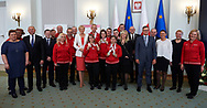 Warsaw, Poland - 2017 March 31: Joanna Lasocka - Styczen and Jerzy Janowicz and Krzysztof Lewandowski and Krzysztof Krukowski and First Lady Agata Kornhauser-Duda and Damian Kuras and Katarzyna Frank Niemczycka and Grzegorz Kurkowski and Malgorzata Strzalkowska and Roza Banasik - Zaranska pose to the picture while meeting with Special Olympics athletes at Polish President's Palace on March 31, 2017 in Warsaw, Poland.<br /> <br /> Mandatory credit:<br /> Photo by © Adam Nurkiewicz / Mediasport<br /> <br /> Adam Nurkiewicz declares that he has no rights to the image of people at the photographs of his authorship.<br /> <br /> Picture also available in RAW (NEF) or TIFF format on special request.<br /> <br /> Any editorial, commercial or promotional use requires written permission from the author of image.<br /> <br /> Image can be used in the press when the method of use and the signature does not hurt people on the picture.