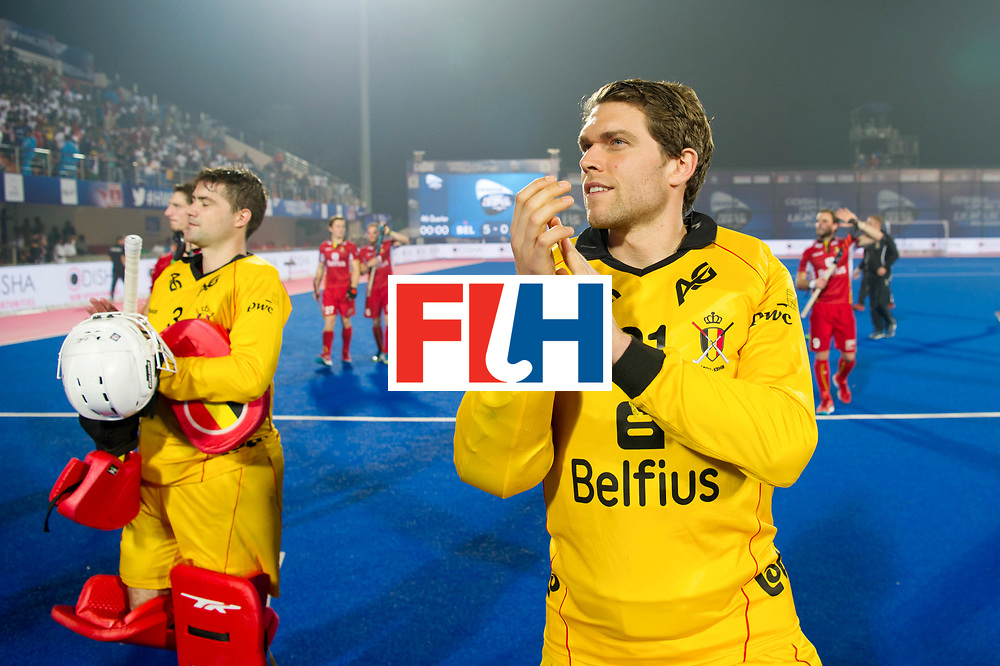 Odisha Men's Hockey World League Final Bhubaneswar 2017<br /> Match id:07<br /> Belgium v Spain<br /> Foto: Happy Belgium keeper Vincent Vanasch (Bel) aND keeper Jeremy Gucassoff (Bel) (L)<br /> WORLDSPORTPICS COPYRIGHT FRANK UIJLENBROEK