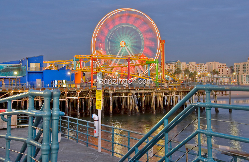 Pacific Park Pier, Over the Ocean Wooden Pier, Santa Monica, Beautiful family, amusement park, large, New, Pacific Ferris wheel, Roller Coaster, moving, over the, ocean, Unique, Fun