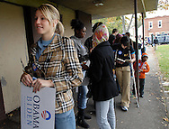PHILADELPHIA - NOVEMBER 4: Jen McCaffrey, 18, of Philadelphia, Pennsylvania, a Temple University student waits to vote on Election Day November 4, 2008 in Philadelphia, Pennsylvania. Hundreds of Temple University students waited more then two hours to cast their vote in what is expected to be a record turnout at the polls. (Photo by William Thomas Cain/Getty Images)