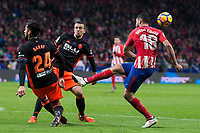 Atletico de Madrid Diego Costa and Valencia Ezequiel Garay during La Liga match between Atletico de Madrid and Valencia C.F. at Wanda Metropolitano in Madrid , Spain. February 04, 2018. (ALTERPHOTOS/Borja B.Hojas)