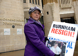© under license to London News Pictures. FILE PICTURE .Julie Bailey. Members of the pressure group Cure the NHS photographed on 2nd February 2010 outside Richmond House in Whitehall. The pressure group led by Julie Bailey campaigned for a public enquiry looking at conditions at Stafford Hospital.  They handed in a petition to then Health Secretary, Andy Burnham. ..A public inquiry will begin today (08/11/10) into failings at an NHS hospital criticised for routinely neglecting patients and providing appalling standards of care..