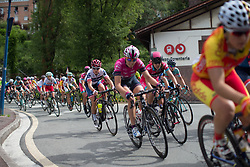 Riders lean into a corner in the first, short lap of Stage 5 of the Emakumeen Bira - a 95.2 km road race, starting and finishing in Errenteria on May 21, 2017, in Basque Country, Spain. (Photo by Balint Hamvas/Velofocus)