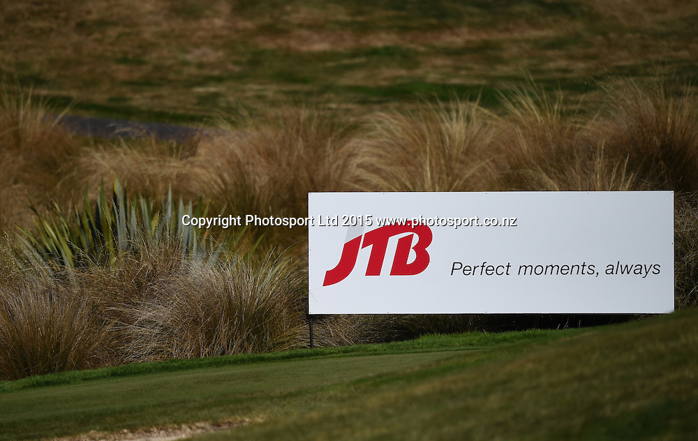 JTB signage during round three of the 2015 BMW New Zealand Golf Open, The Hills Golf course, Arrowtown, New Zealand. Saturday 14 March 2015. Copyright Photo: Andrew Cornaga / www.photosport.co.nz