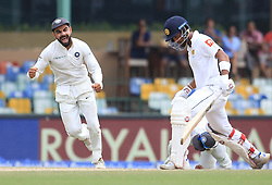 August 6, 2017 - Colombo, Sri Lanka - Indian cricket captain Virat Kolhi (L) in celebration mood after Sri Lankan captain Dinesh Chandimal (R) was dismissed  during the 4th Day's play in the 2nd Test match between Sri Lanka and India at the SSC international cricket stadium at the capital city of Colombo, Sri Lanka on Sunday 6 August 2017. (Credit Image: © Tharaka Basnayaka/NurPhoto via ZUMA Press)