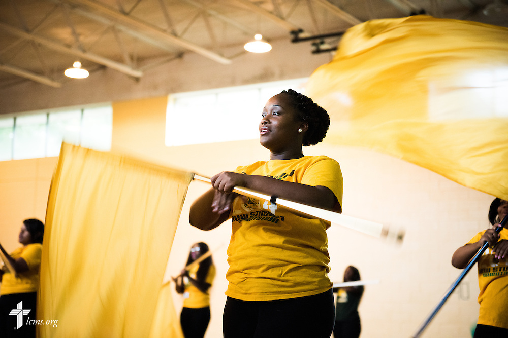 Kiara Knight practices with the flags and dance team after class at Concordia College Alabama on Tuesday, August 18, 2014, in Selma, Ala.  LCMS Communications/Erik M. Lunsford