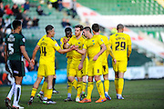 Oxford celebrate scoring their secong goal to make it 2-1 to Oxford during the Sky Bet League 2 match between Plymouth Argyle and Oxford United at Home Park, Plymouth, England on 5 March 2016. Photo by Graham Hunt.
