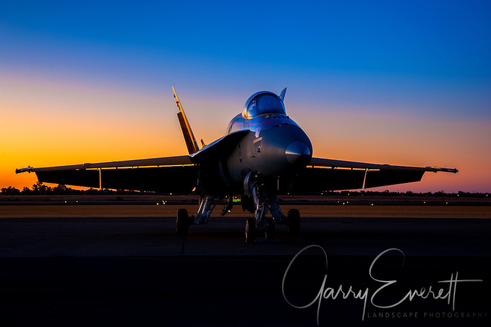 Royal Canadian Air Force F-18 at 2016 California Capital Airshow in Sacramento. F-18 at sunrise with great background color