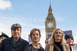 © Licensed to London News Pictures. 07/03/2017. London, UK. Actor Rhys Ifans (L), actress Juliet Stevenson (C) and actress Joely Richardson (R) join campaigners in Parliament Square to call on the government to reinstate the Dubs amendment. The Dubs Amendment, which was introduced by Lord Dubs who was brought to Britain as a child on the Kindertransport and aims to bring child refugees to safety in Britain, was suspended by the government in February 2017. Photo credit: Rob Pinney/LNP