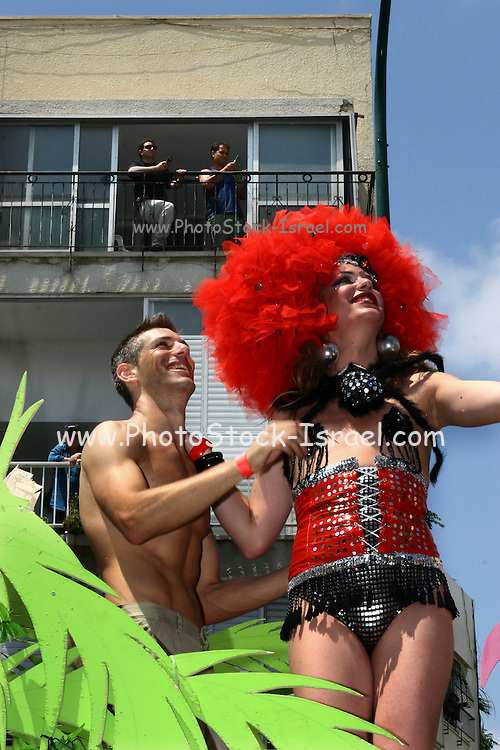 Members of the gay community at the annual gay parade in Tel Aviv. Friday, June 8, 2007. Thousands of members of the gay community and friends walked from Rabin square to the beach party at Gordon beach.