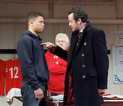 The Red Lion <br /> by Patrick Marber <br /> at the Dorfman Theatre, NT, Southbank, London, Great Britain <br /> press photocall <br /> 9th June 2015 <br /> <br /> Calvin Demba as Jordan <br /> Peter Wight as Yates<br /> Daniel Mays as Kidd<br /> <br /> <br /> <br /> Photograph by Elliott Franks <br /> Image licensed to Elliott Franks Photography Services