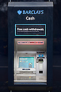A Barclays bank cash machine, Baker street, London.